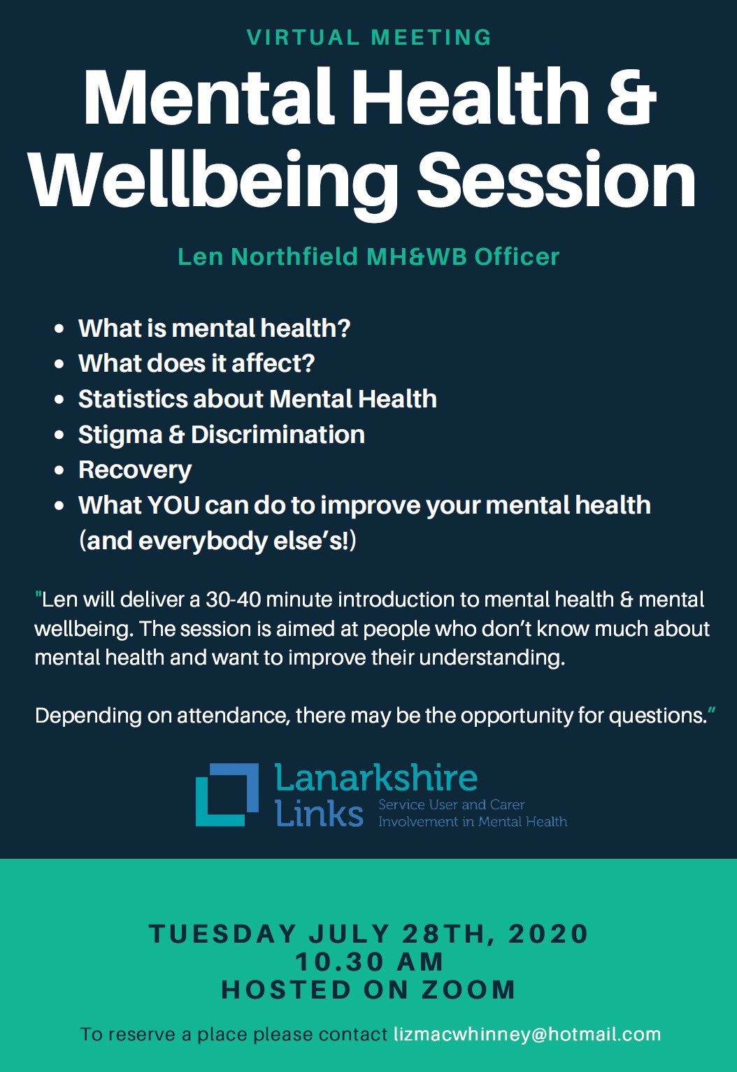 Virtual Meeting – Mental Health & Wellbeing Session