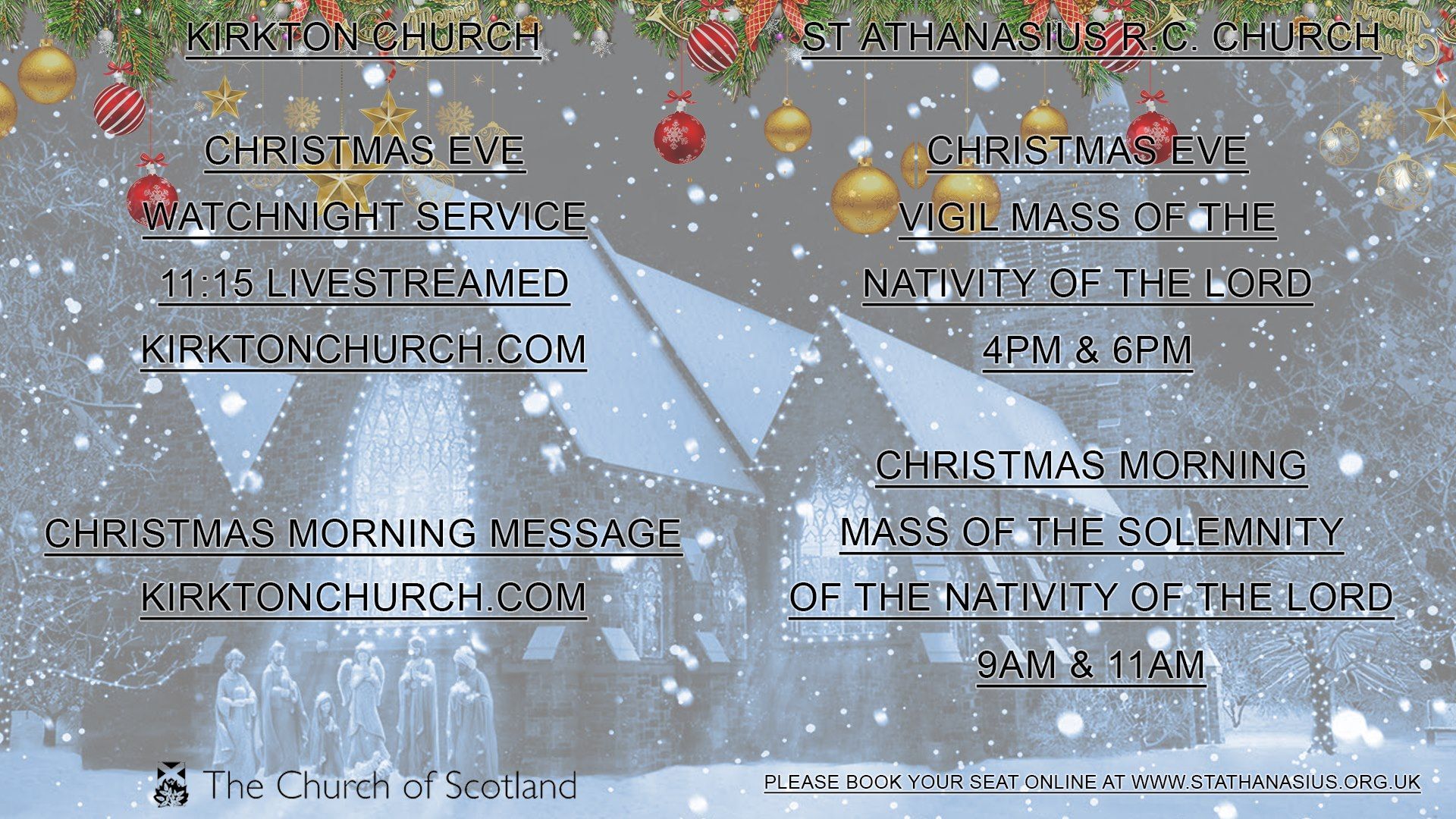 Kirkton Church and St Athanasius Christmas Opening Times