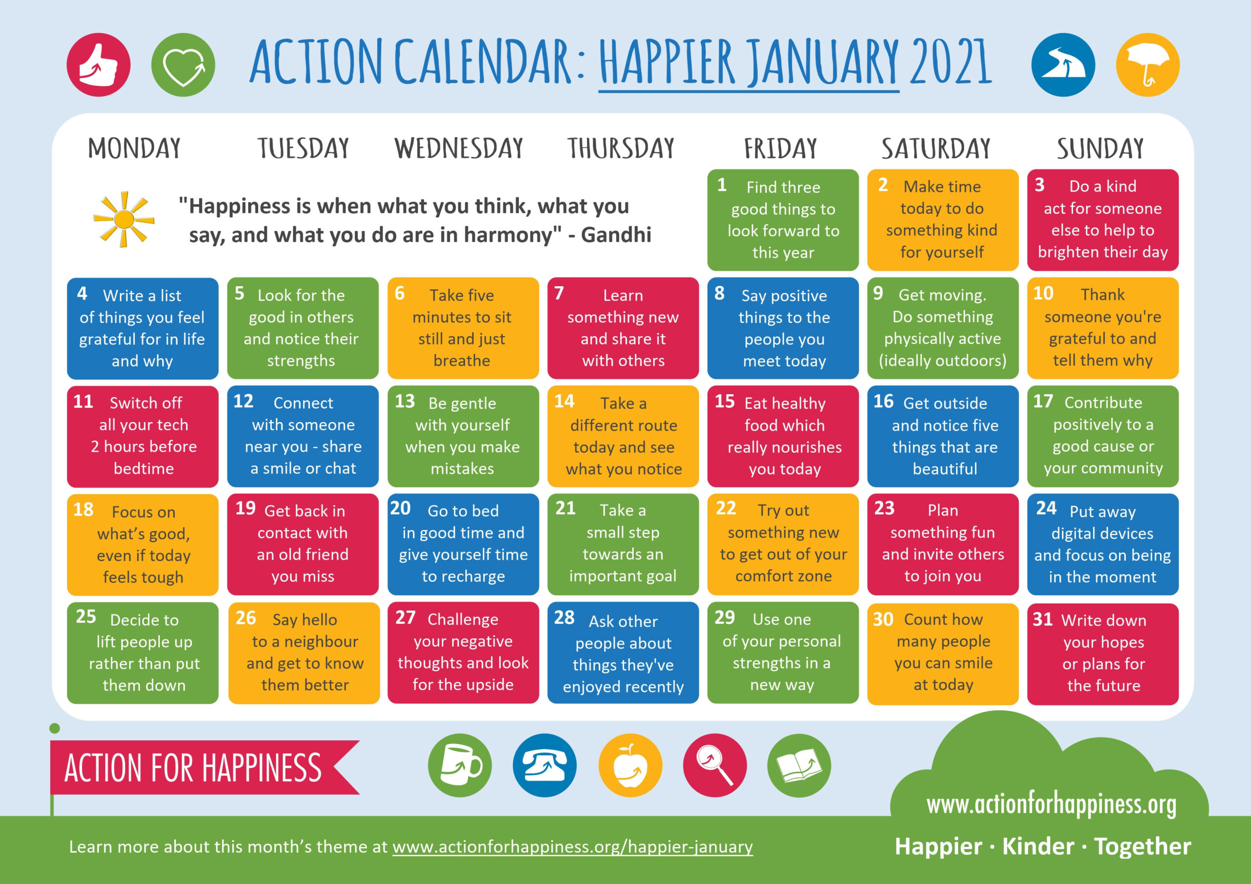 Happy New Year – Action for Happiness Calendar – January 2021